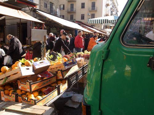Palerme, marché, camion vert